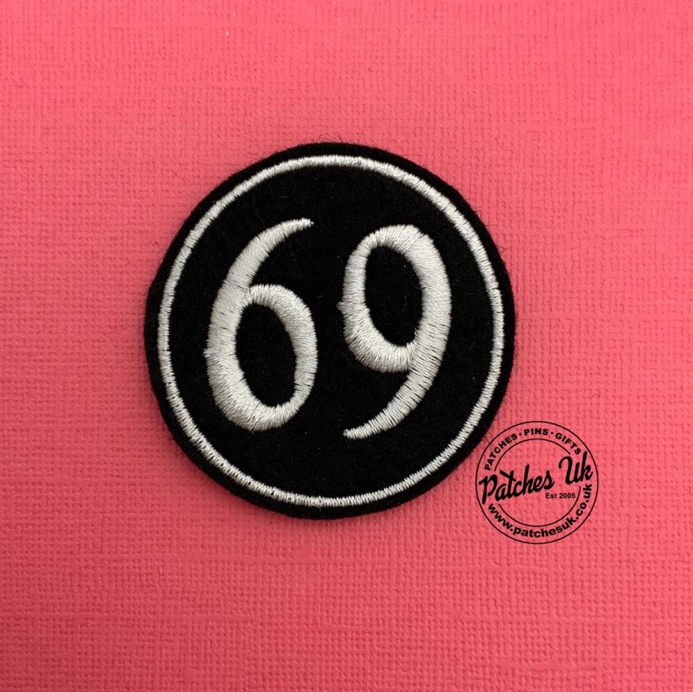 No. 69 - Curve font Felt Embroidered Biker Circle Patch #0005