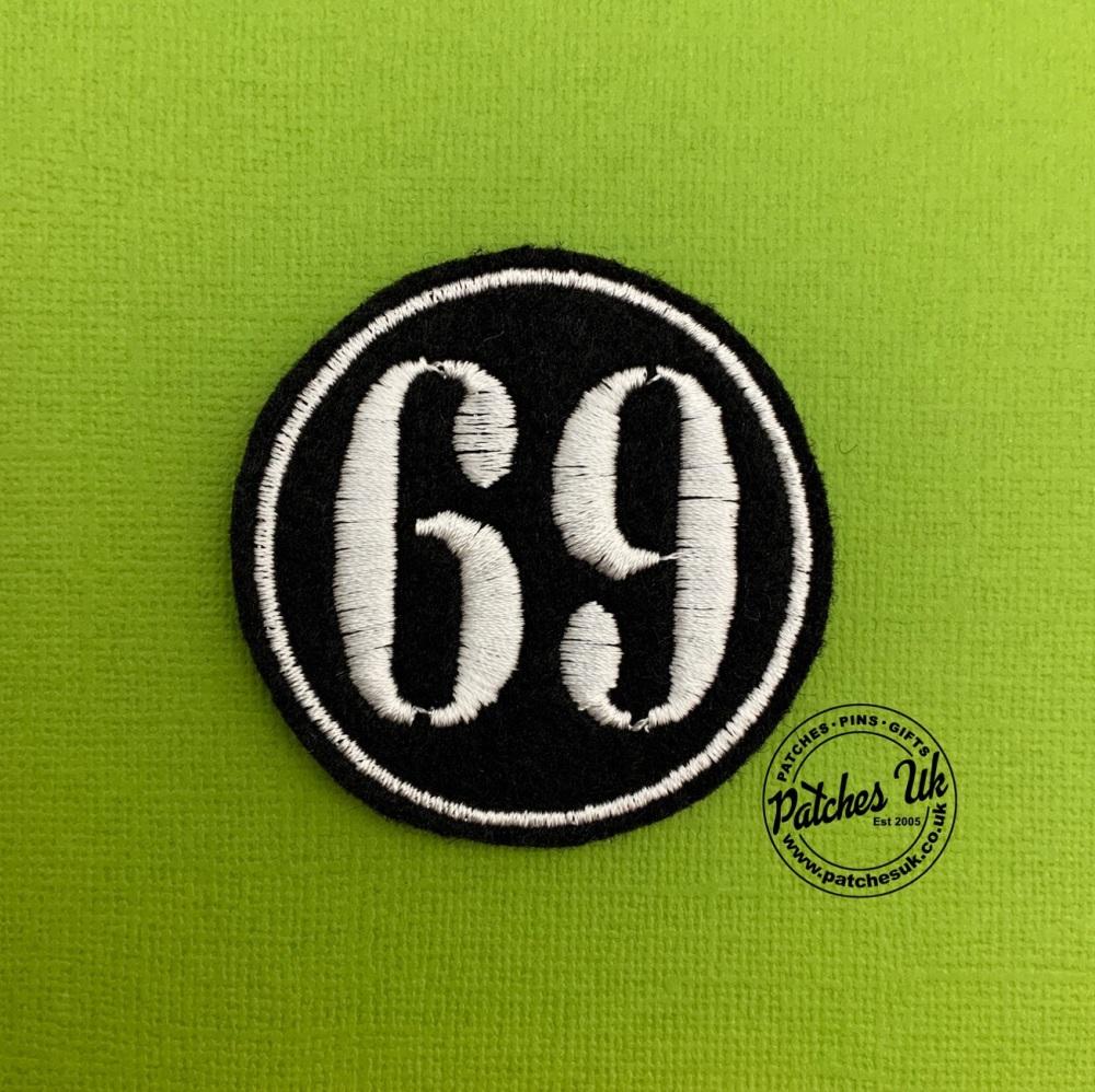 No. 69 - Stencil font Felt Embroidered Biker Circle Patch #0004