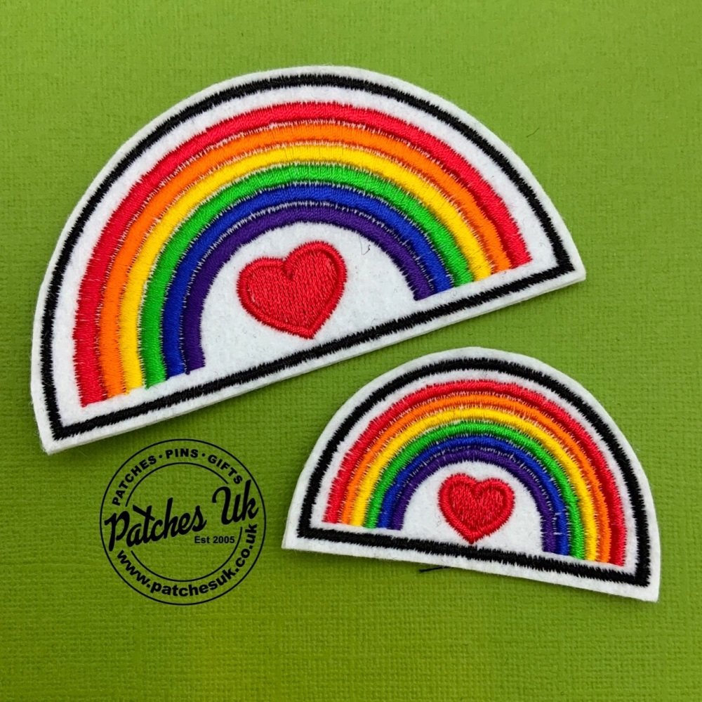 Rainbow Heart Embroidered White felt Patch #0073