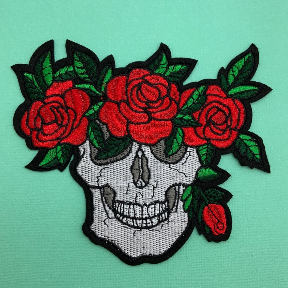 Red Floral Skull Fabric Embroidered Patch #0097