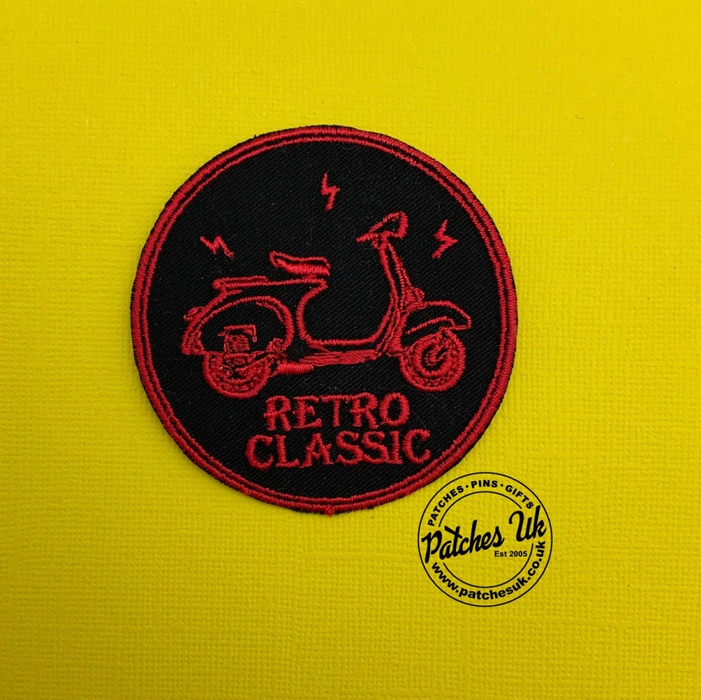 Retro Classis Scooter Embroidered Twill Cotton Patch #0123