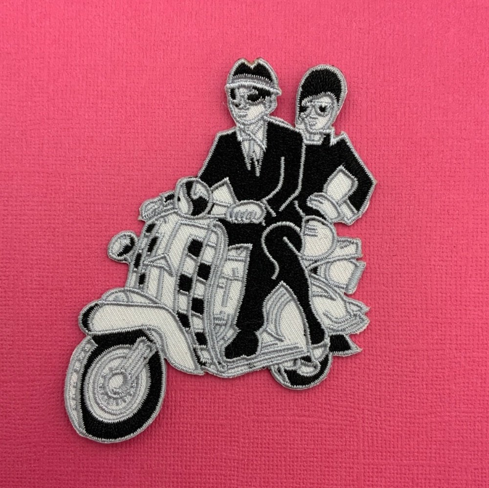 Scooter Couple Fabric Embroidered Patch #0077