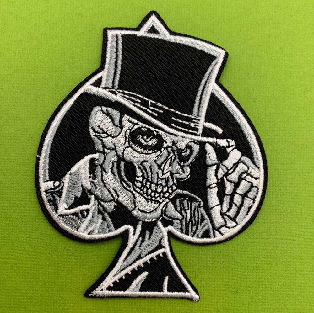 Skull Ace Top Hat Fabric Biker Patch #0098