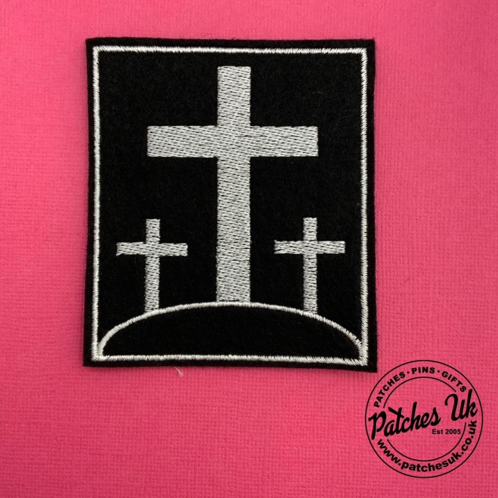 Three Crosses Embroidered Felt Christian Biker Patch #0064