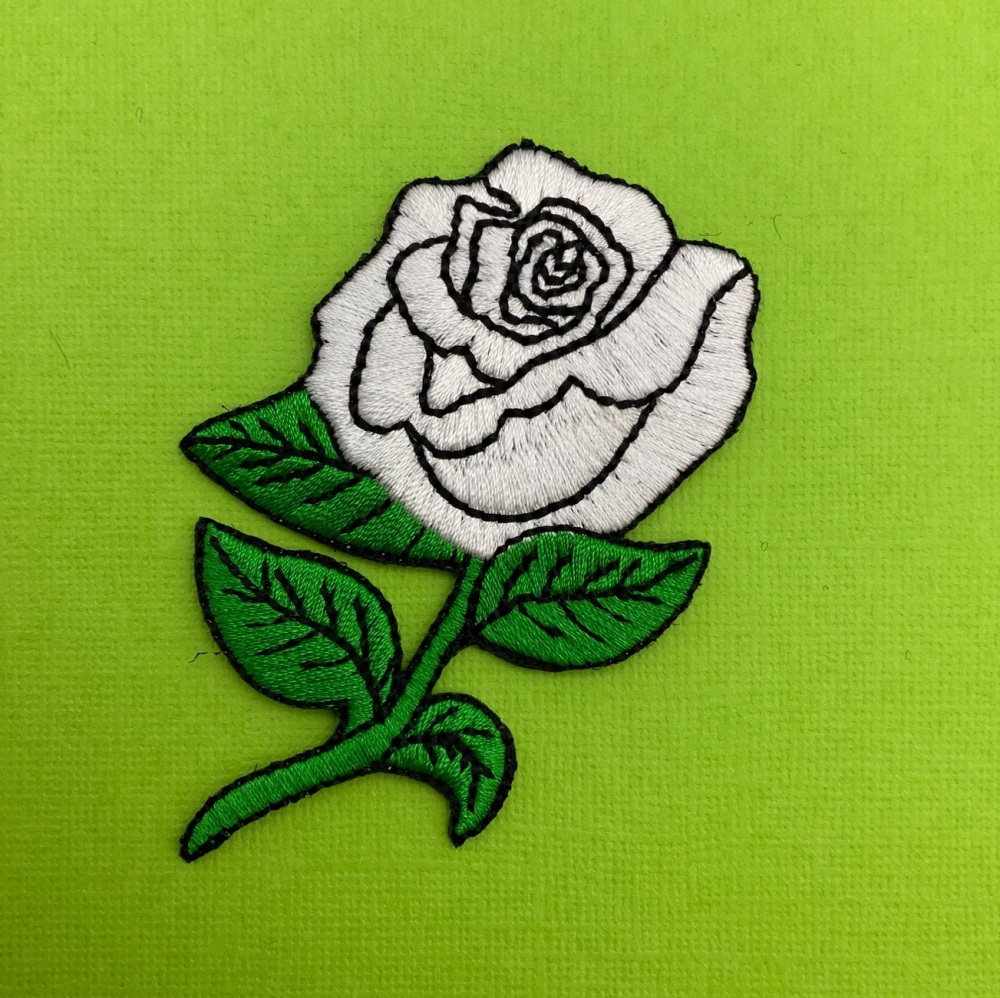 White Rose Fabric Embroidered Patch Lady Rider Flower #0018