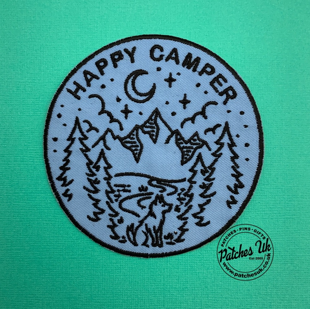 Happy Camper Summer Camping Adventures Embroidered Fabric Patch #0127