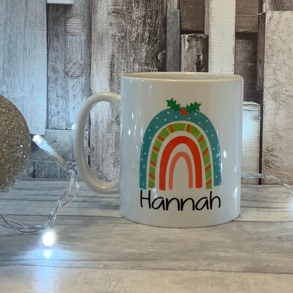 Christmas Rainbow Festive White Ceramic Mug
