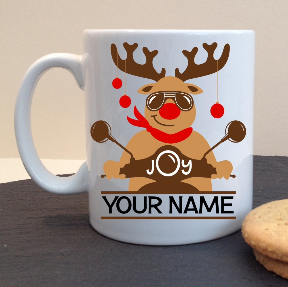 Christmas Mod Scooter Reindeer Festive White Ceramic Mug
