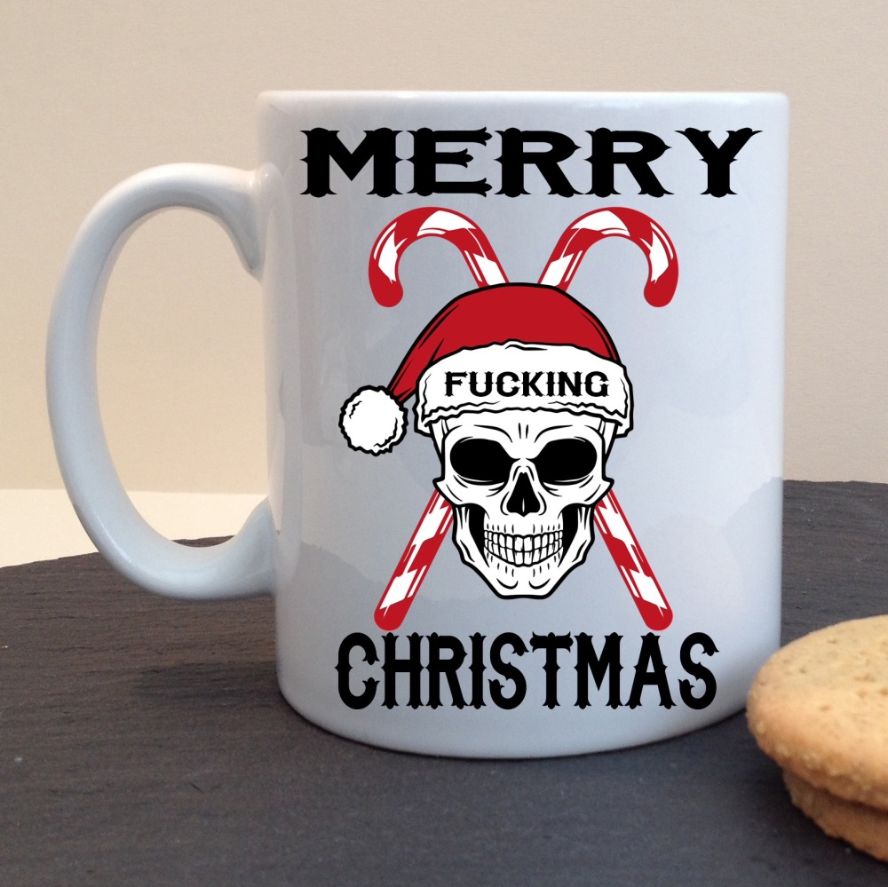 Merry Fucking Christmas Offensive Swear Festive Skull and Candy Canes White