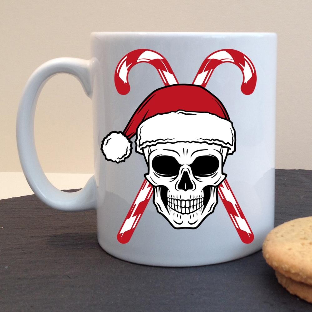 Festive Skull and Candy Canes Novelty Christmas White Ceramic Mug