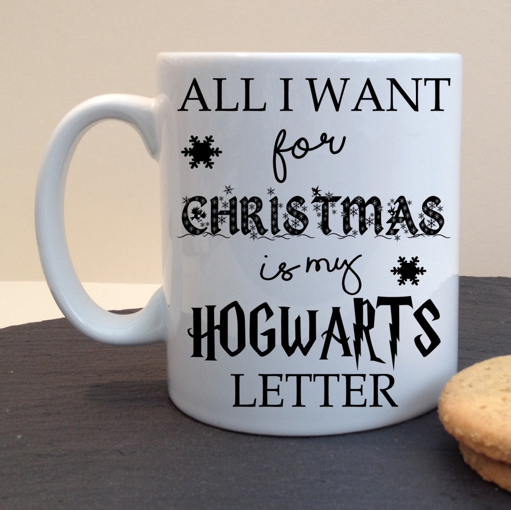 Festive Hogwarts Letter For Christmas Harry Potter Style Themed White Ceramic Mug