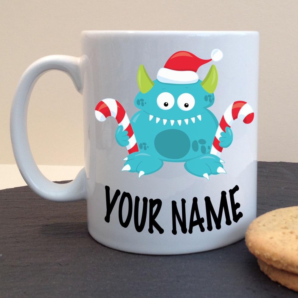Christmas Friendly Monster Blue Festive White Ceramic Mug