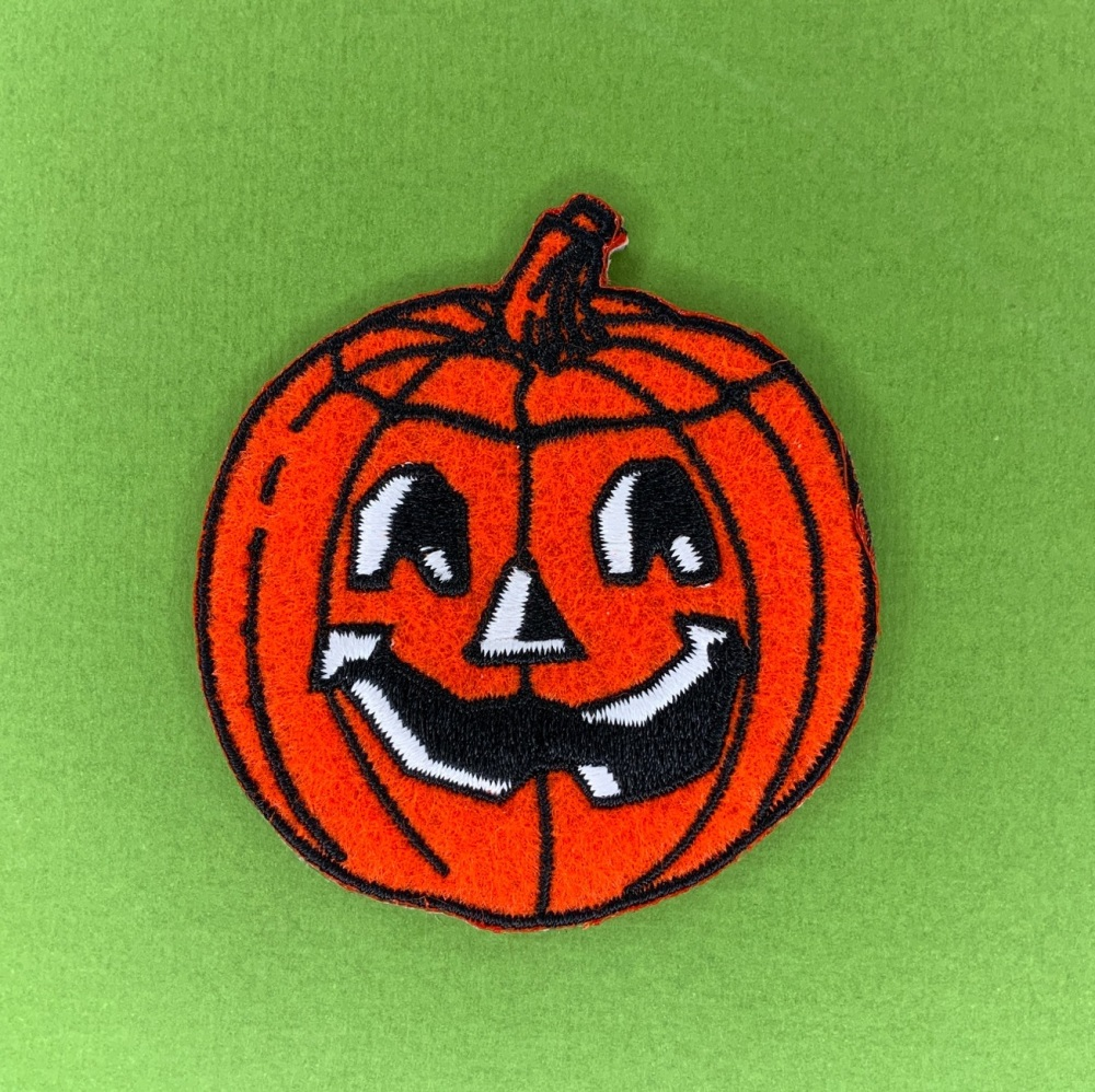 Pumpkin Embroidered Fabric Patch #0102