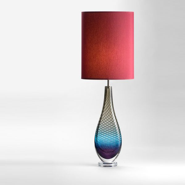 Large Westmorland Lamp | Langdale | wine shade (lit)