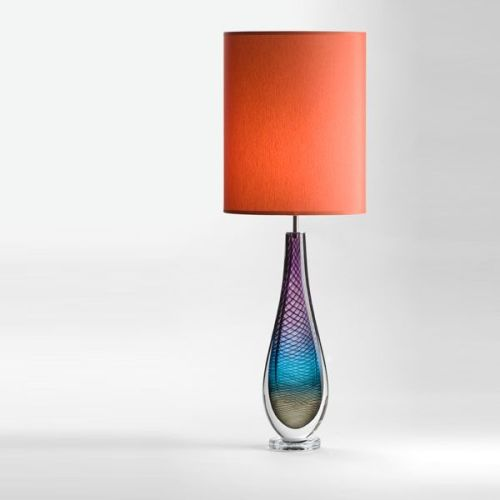 Large Westmorland Lamp   Fairfield   terracotta shade (lit)