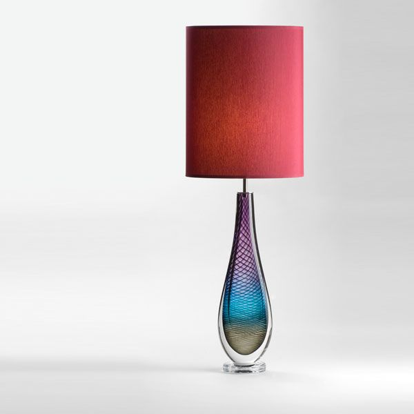 Large Westmorland Lamp | Fairfield | wine shade (lit)