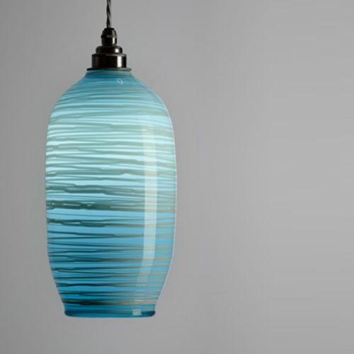 Beehive Pendant | opal soft blue lit