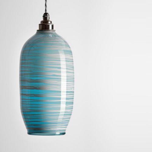Beehive Pendant   opal soft blue unlit
