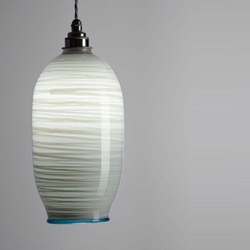 Beehive Pendant | opal soft grey lit