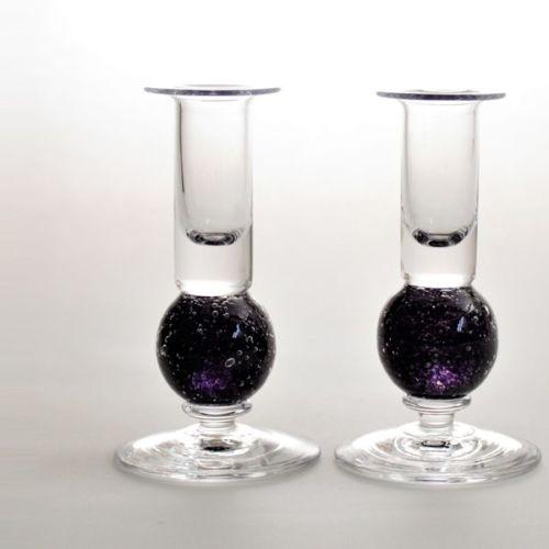 Stellar candlesticks | amethyst pair