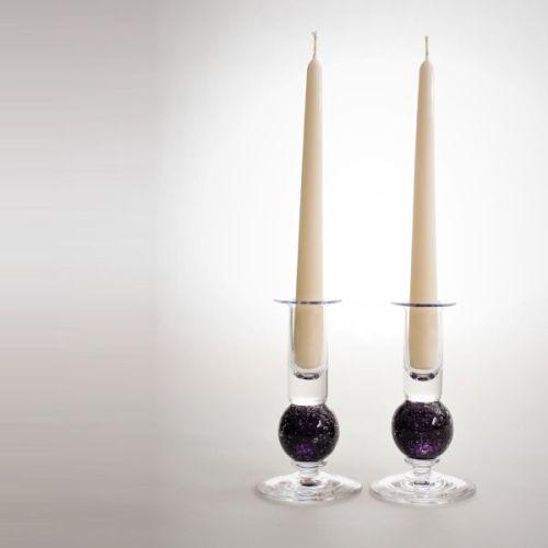 Stellar candlesticks   amethyst pair