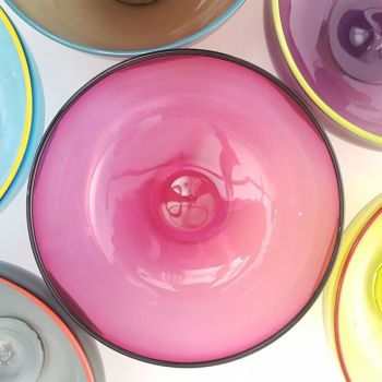 Zest Bowl | fuchsia with trailed coloured glass rim