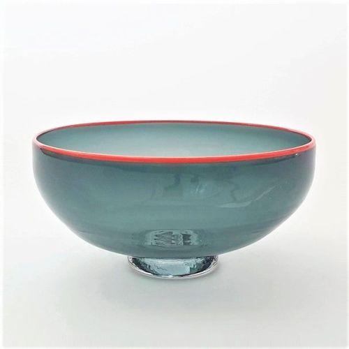 Zest Bowl | grey with trailed orange glass rim
