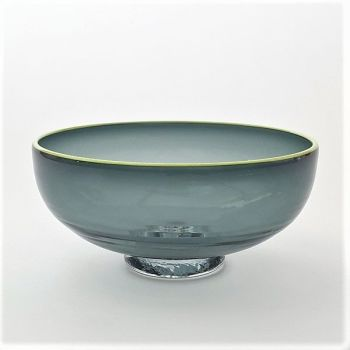 Zest Bowl | grey with trailed chartreuse glass rim