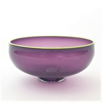 Zest Bowl | purple with trailed chartreuse glass rim
