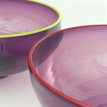 Zest Bowl | purple with trailed coloured glass rim