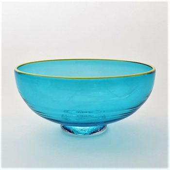 Zest Bowl | blue with trailed yellow glass rim