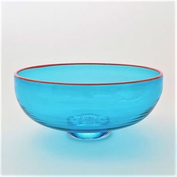 Zest Bowl | blue with trailed orange glass rim