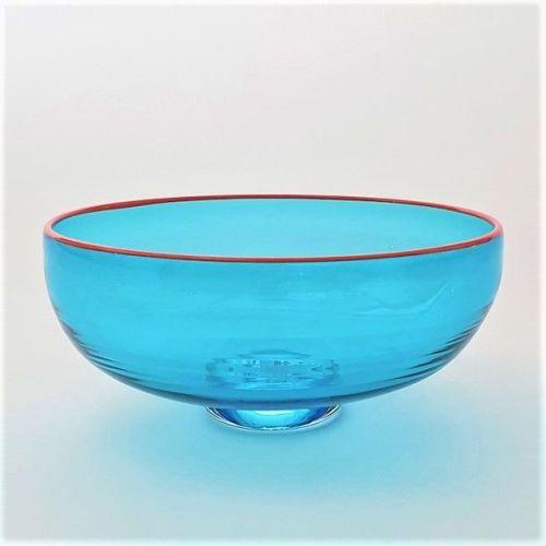 <!--2-->Zest Bowl | blue with trailed orange glass rim