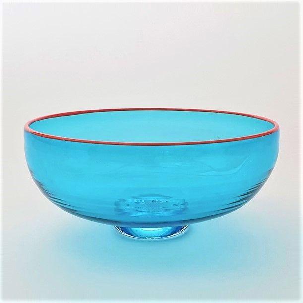<!--2-->Zest Bowl   blue with trailed orange glass rim