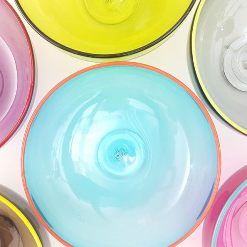 <!--3-->Zest Bowl   blue with trailed coloured glass rim