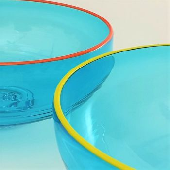 Zest Bowl | blue with trailed coloured glass rim
