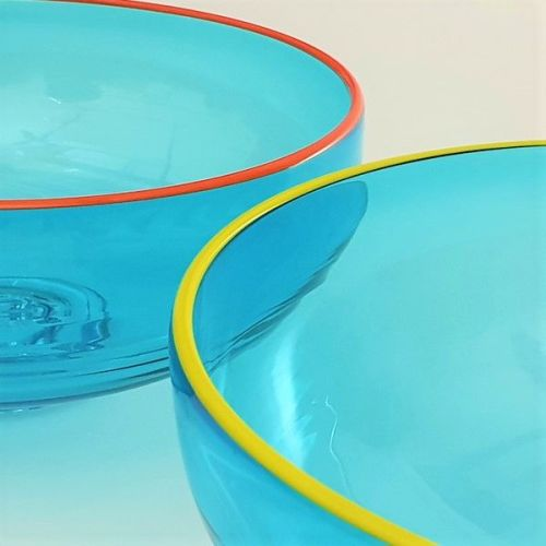 <!--3-->Zest Bowl | blue with trailed coloured glass rim