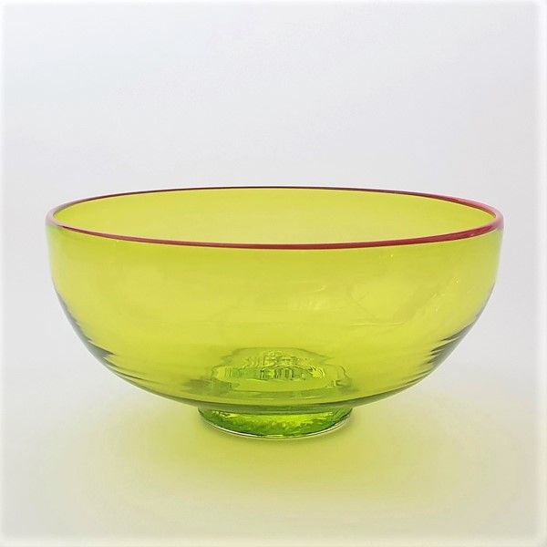 Zest Bowl | lime with trailed red glass rim