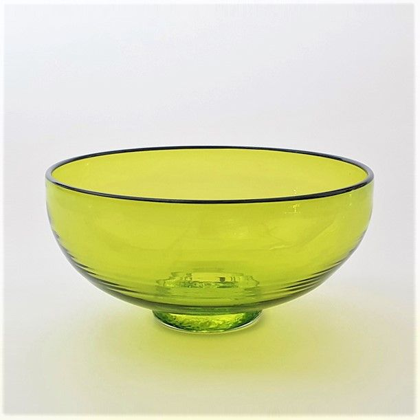 <!--2-->Zest Bowl | lime with trailed black glass rim