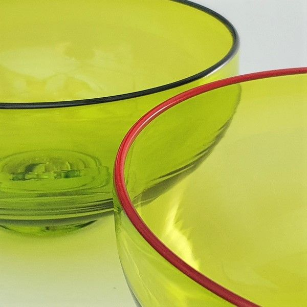 <!--3-->Zest Bowl | lime with trailed coloured glass rim