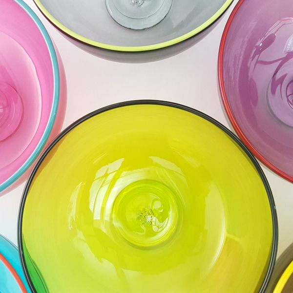 Zest Bowl | lime with trailed coloured glass rim