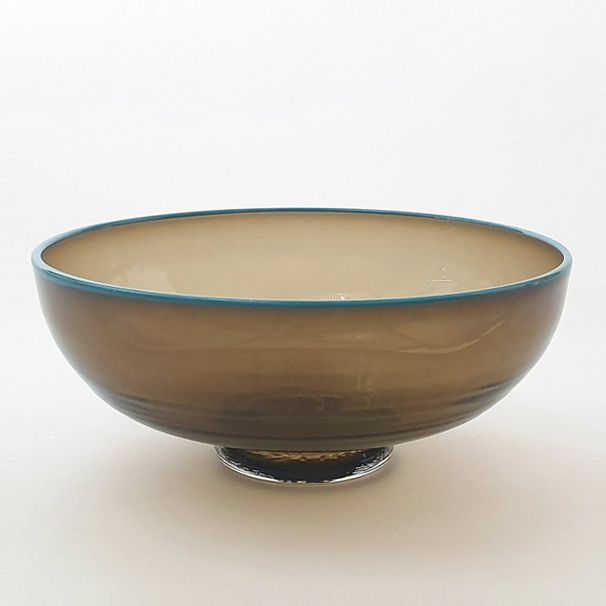 Zest Bowl | olive with trailed turquoise glass rim