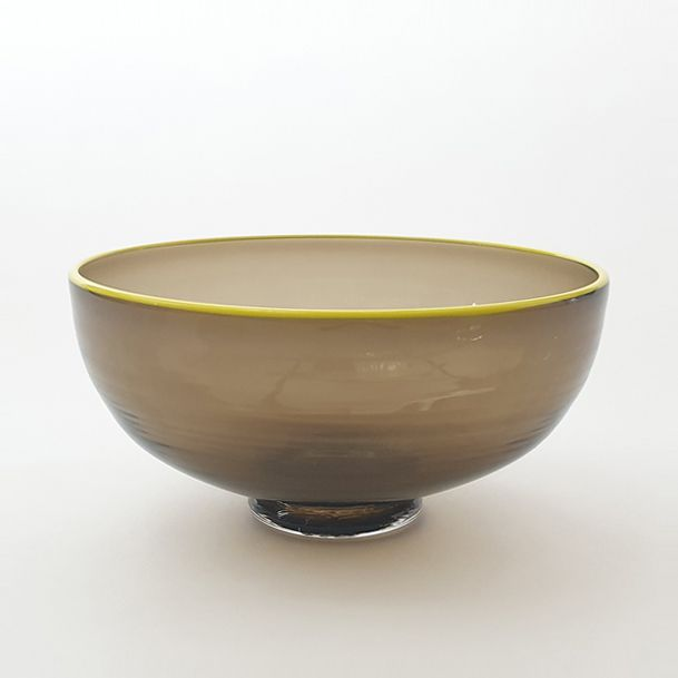 <!--2-->Zest Bowl | olive with trailed yellow glass rim