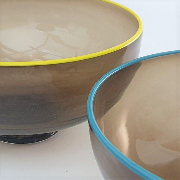Zest Bowl | olive with trailed coloured glass rim