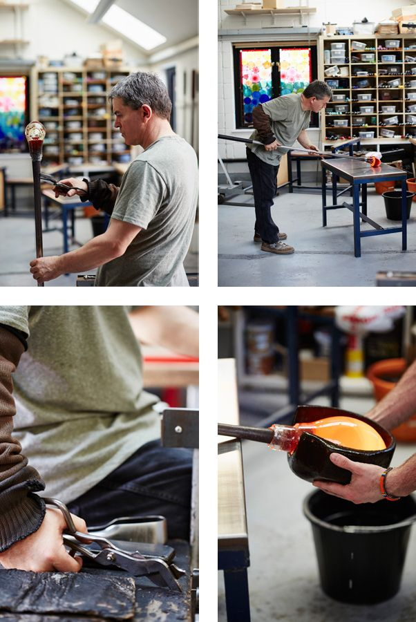 Stewart Hearn cutting the molten glass with shears, shaping the molten hand blown glass. Photo Alun Callender