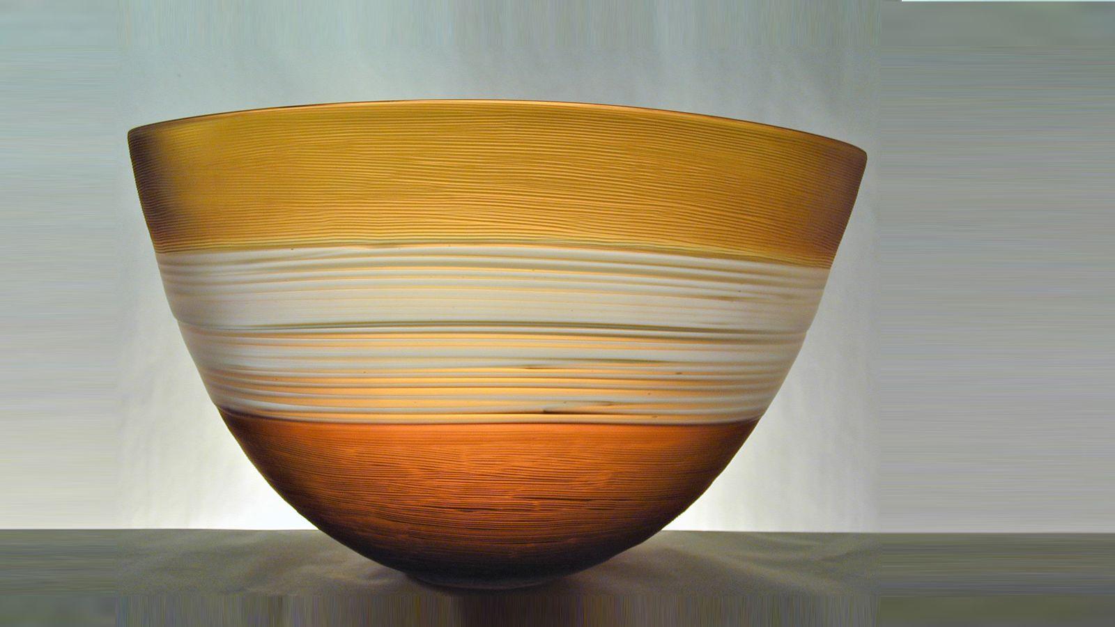 Stewart Hearn Hand Blown Glass Strata Bowl, Gold with Clear Trails