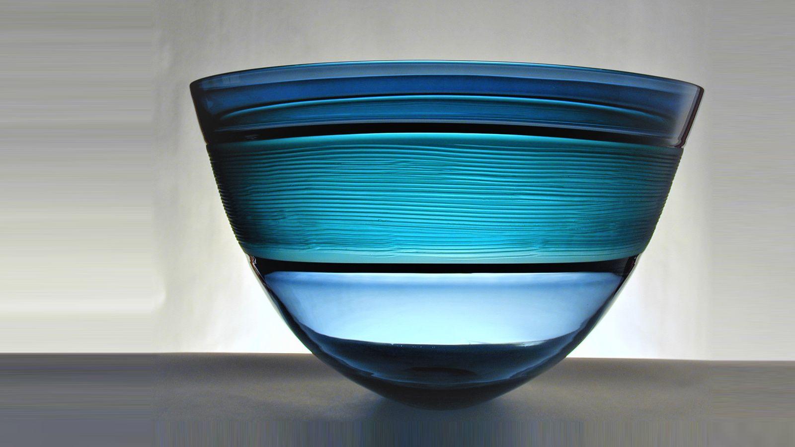 Stewart Hearn Hand Blown Glass Strata Bowl, Steel Black & Turquoise