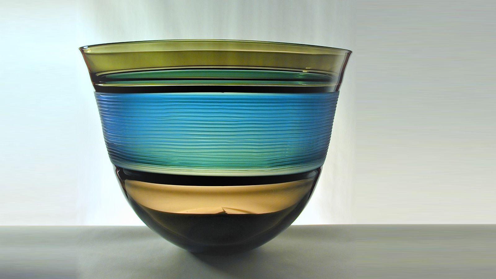 Stewart Hearn Hand Blown Glass Strata Bowl, Olive, Black & Turquoise