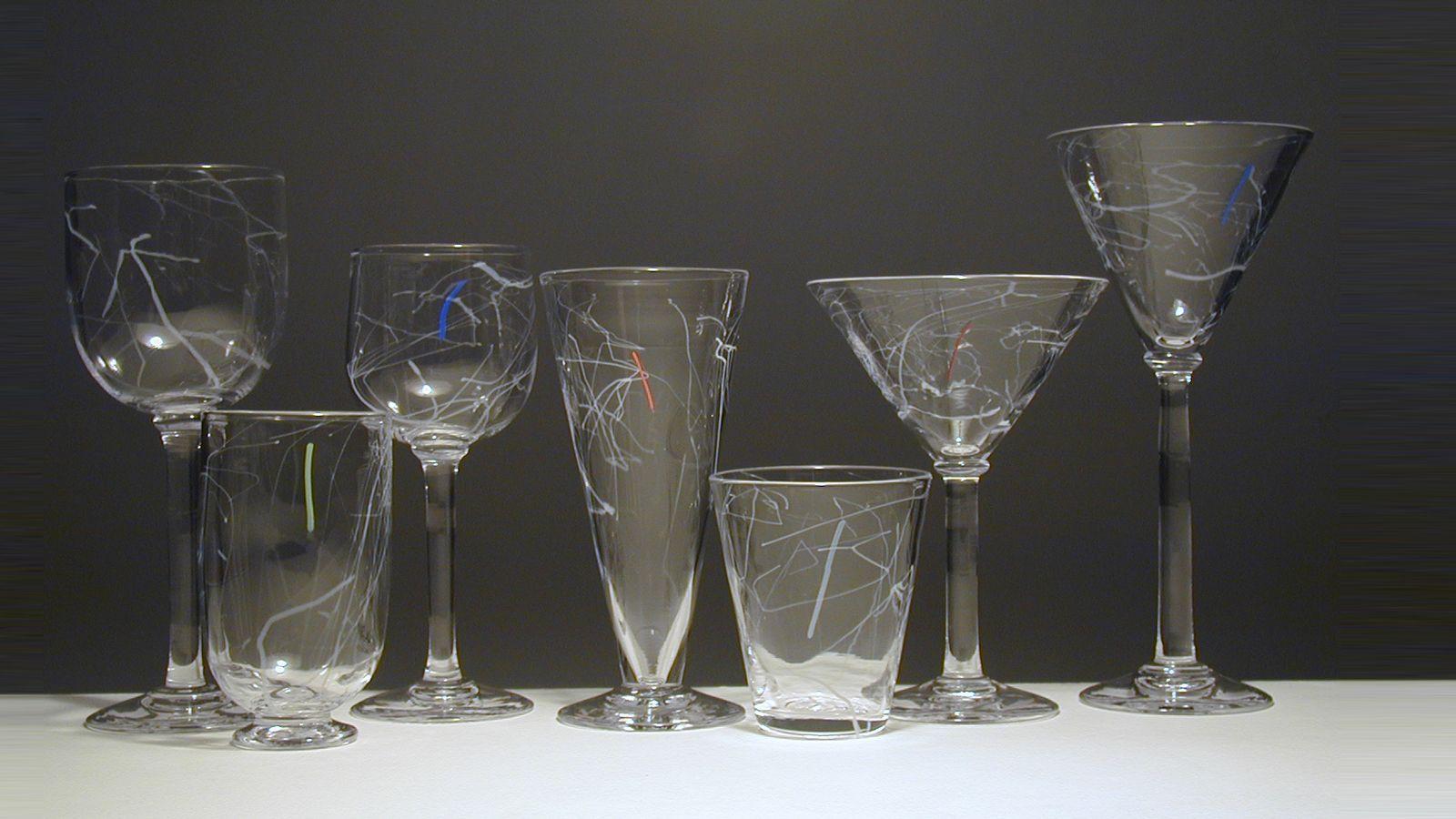 Stewart Hearn Hand Blown Glass Staccato Stemware