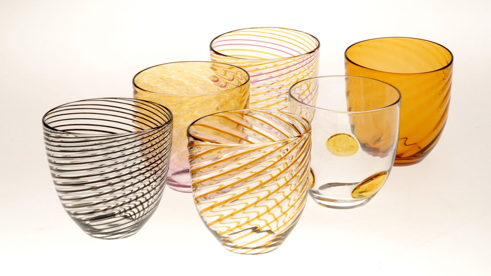 Glass Oval Tumblers, Selection of 6